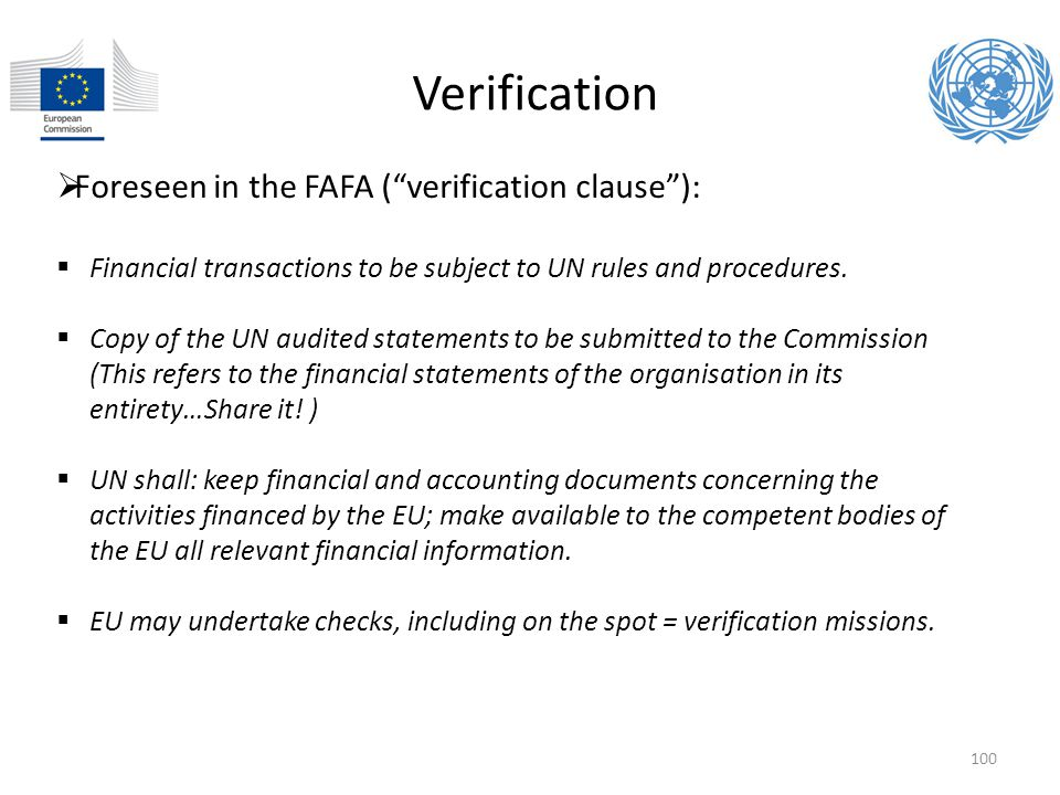 Verification Foreseen in the FAFA ( verification clause ):