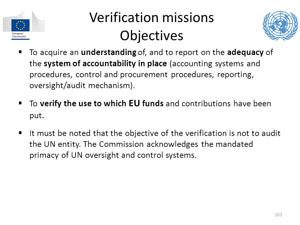 Verification missions Objectives