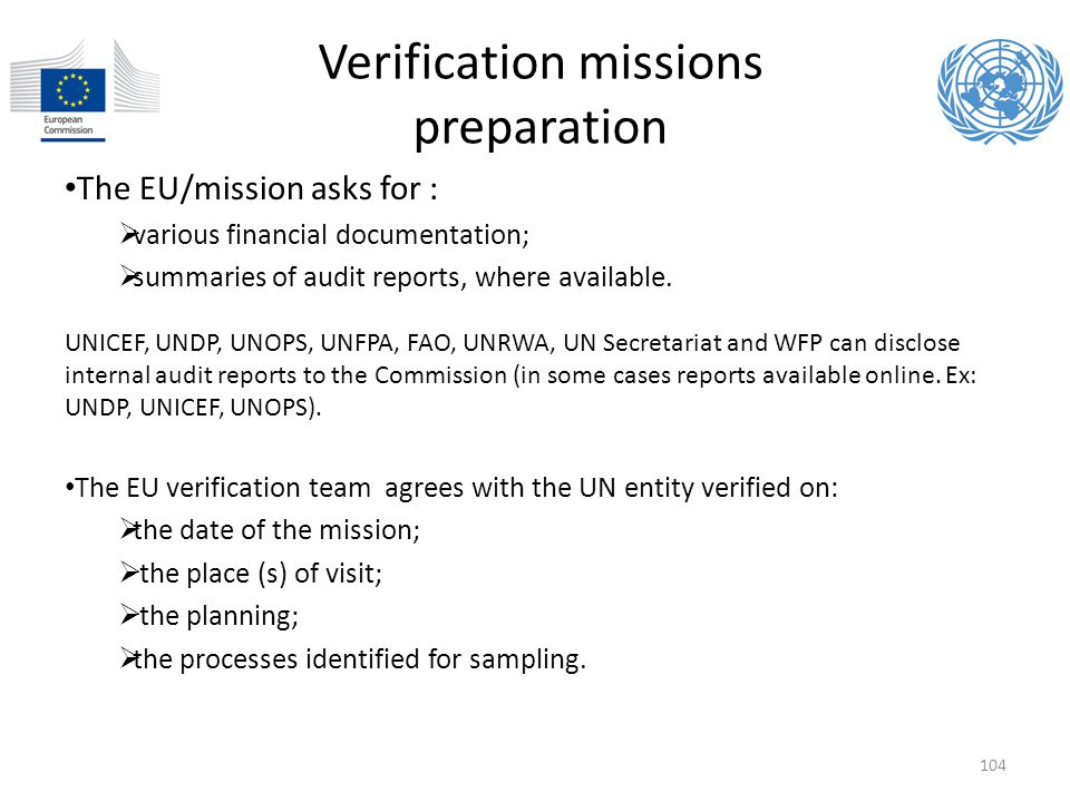 Verification missions preparation