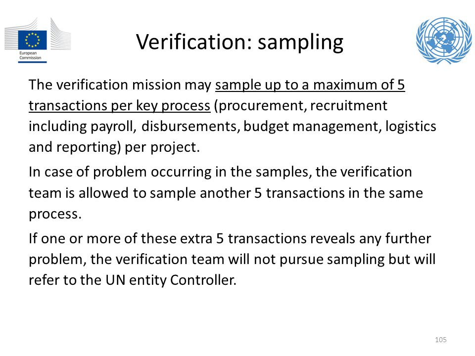 Verification: sampling