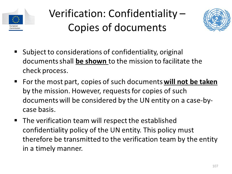 Verification: Confidentiality – Copies of documents