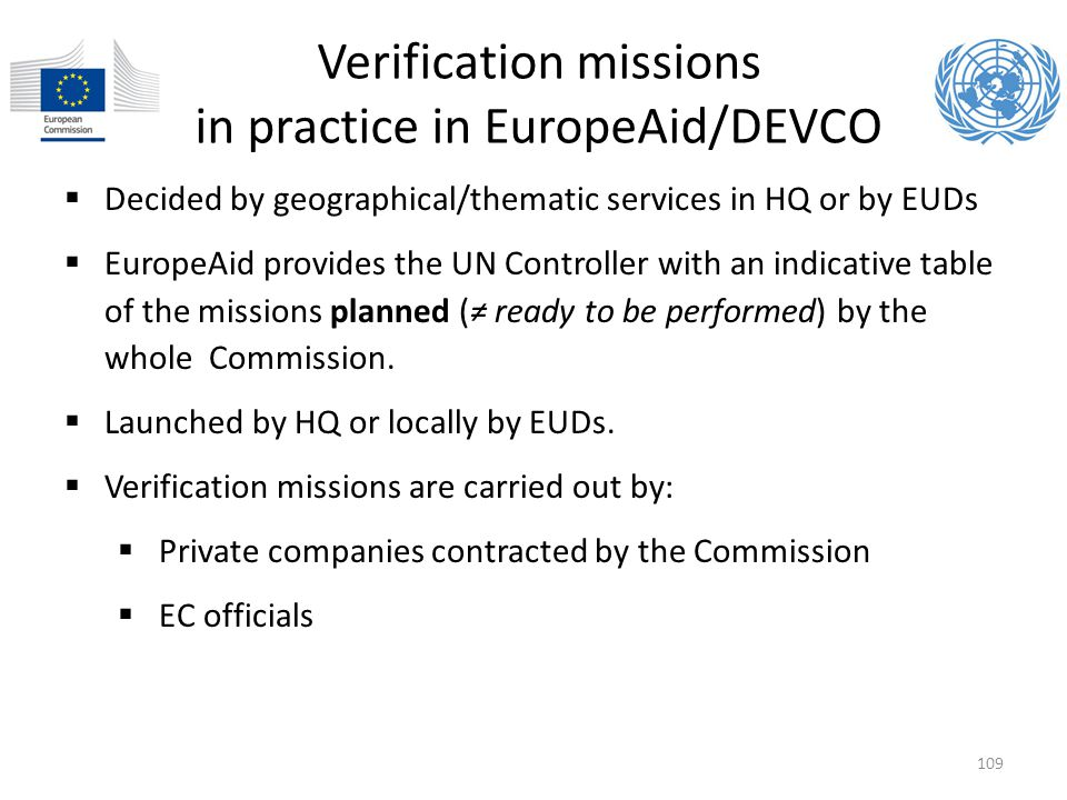 Verification missions in practice in EuropeAid/DEVCO