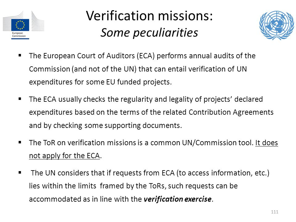 Verification missions: Some peculiarities
