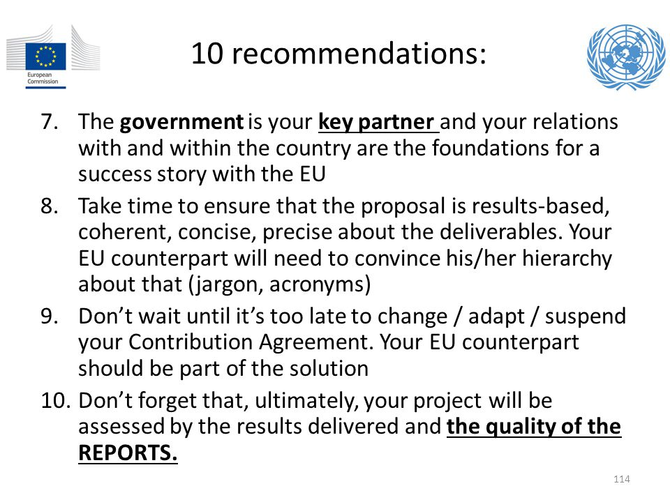 10 recommendations: