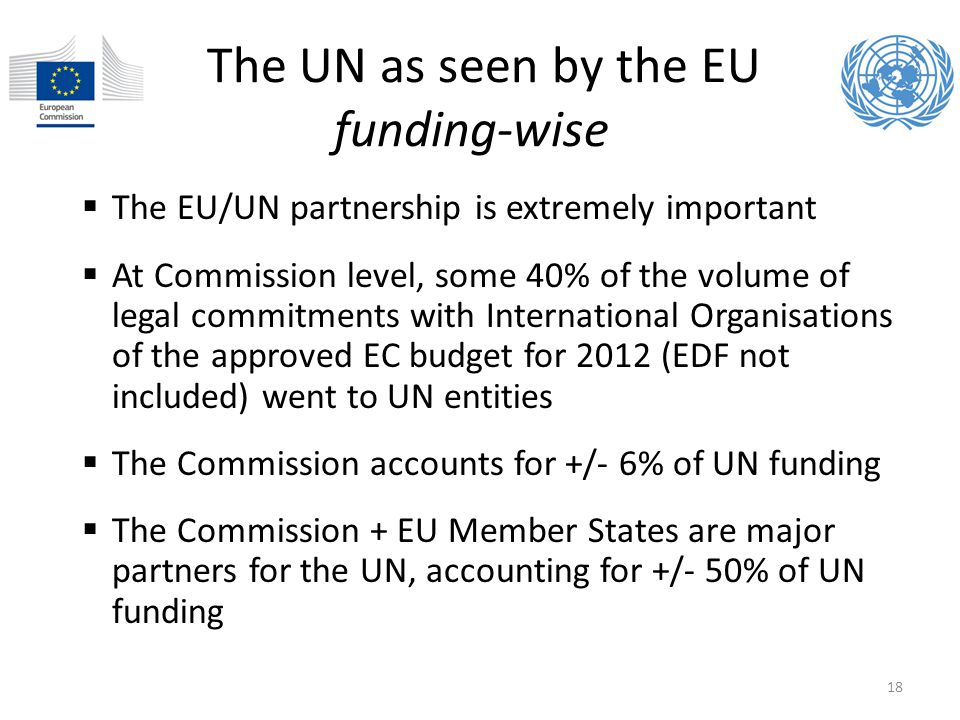 The UN as seen by the EU funding-wise