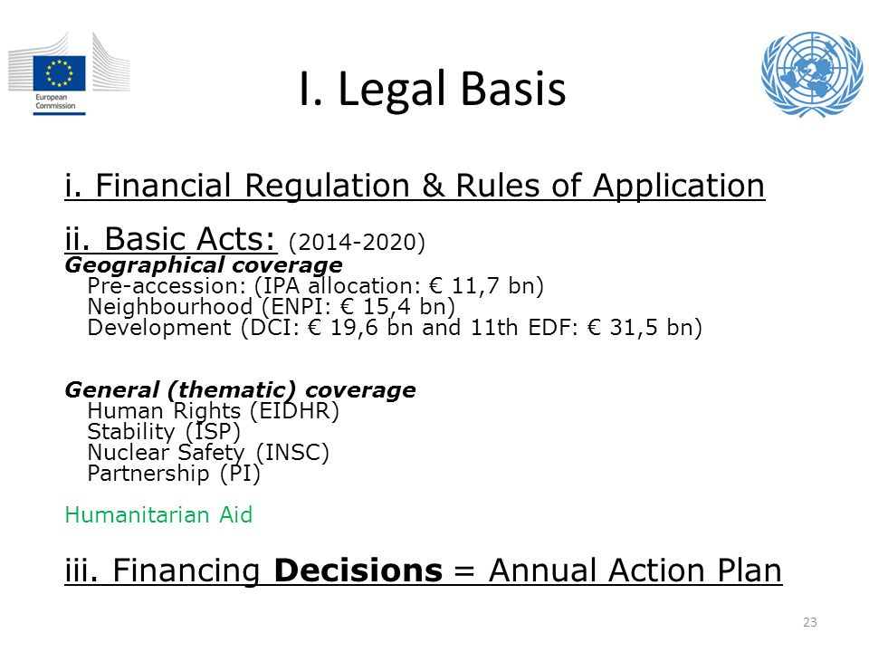I. Legal Basis i. Financial Regulation & Rules of Application