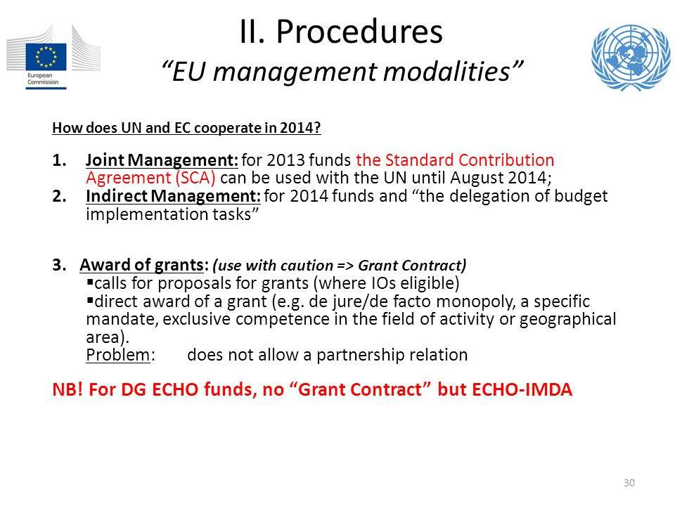 II. Procedures EU management modalities