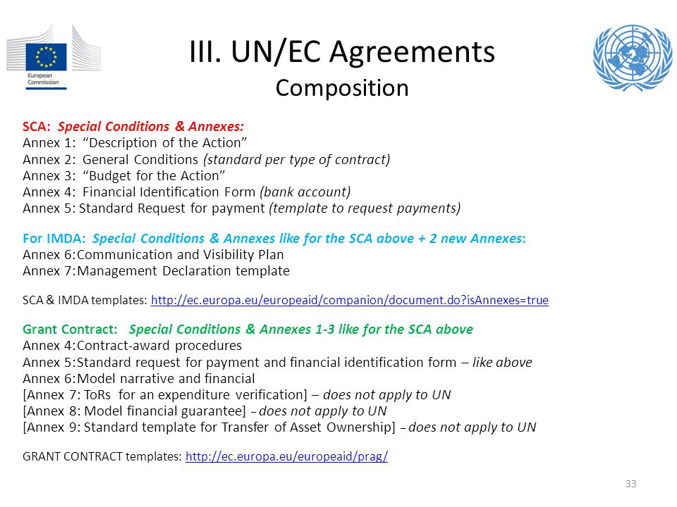 III. UN/EC Agreements Composition