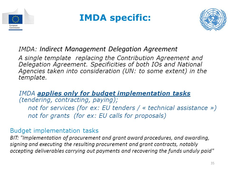 IMDA specific: IMDA: Indirect Management Delegation Agreement