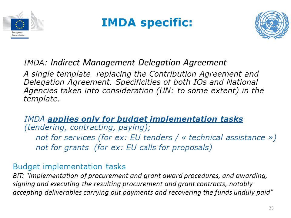 IMDA specific: IMDA: Indirect Management Delegation Agreement