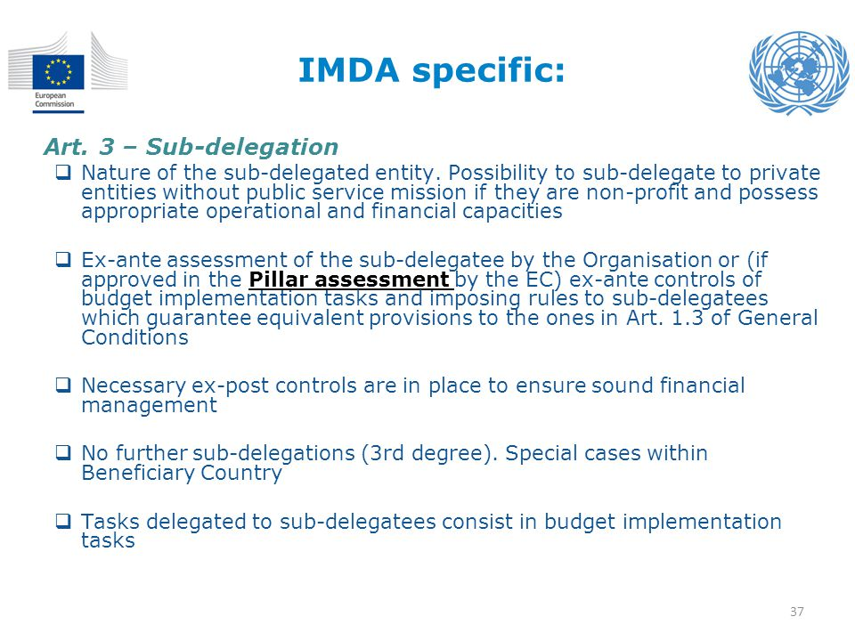 IMDA specific: Art. 3 – Sub-delegation