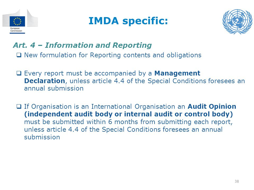 IMDA specific: Art. 4 – Information and Reporting