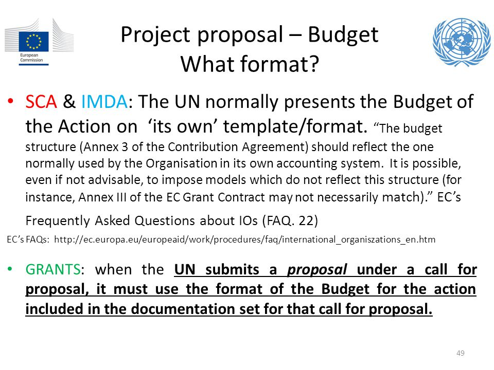 Project proposal – Budget What format