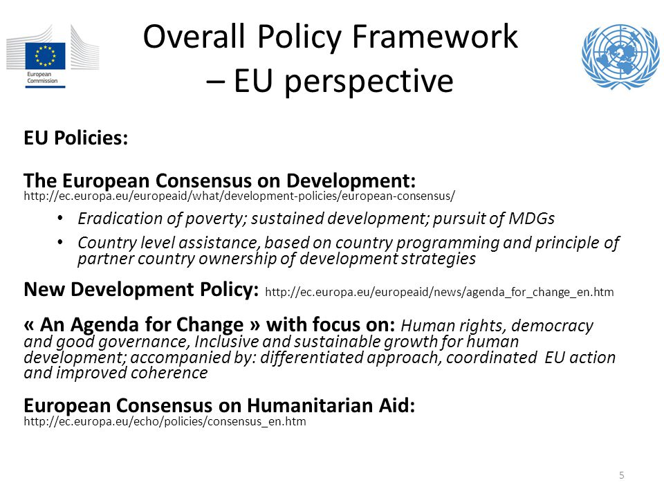 Overall Policy Framework – EU perspective