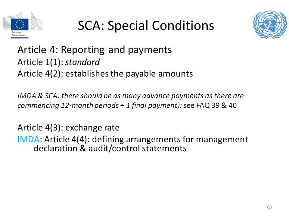SCA: Special Conditions