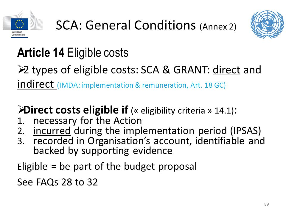 SCA: General Conditions (Annex 2)