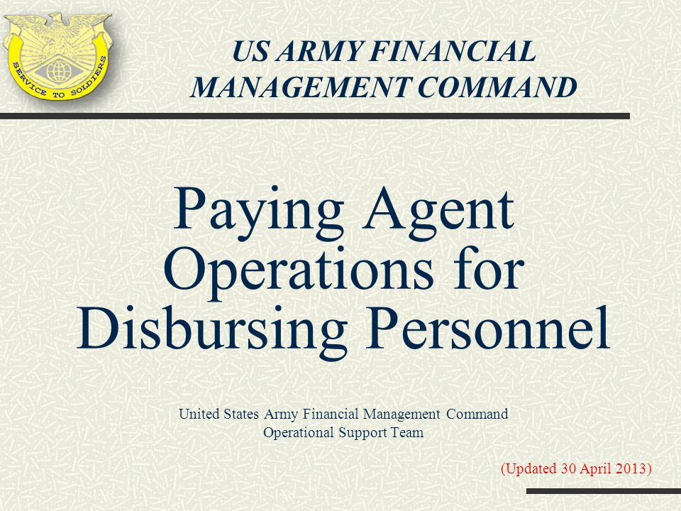 Paying Agent Operations for Disbursing Personnel