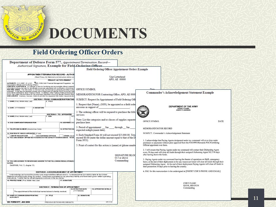 DOCUMENTS Field Ordering Officer Orders