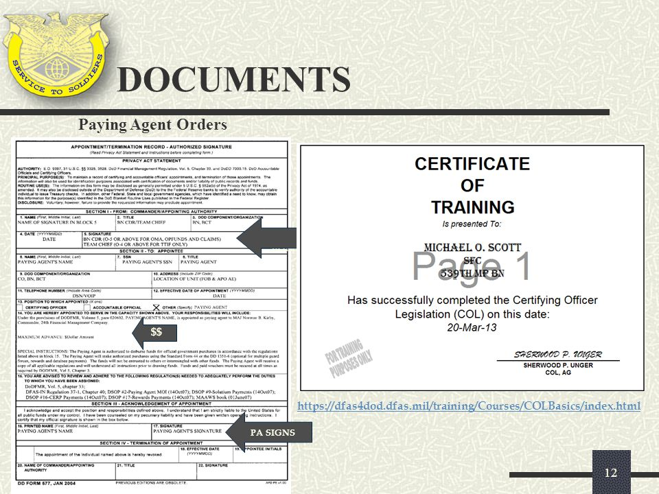 DOCUMENTS Paying Agent Orders $$