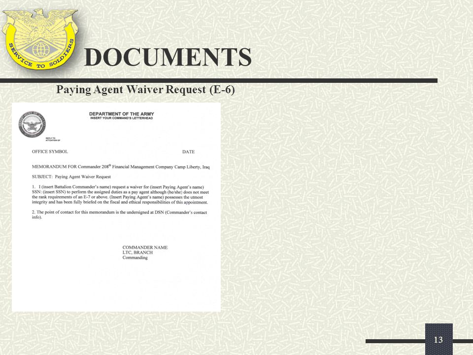 DOCUMENTS Paying Agent Waiver Request (E-6)