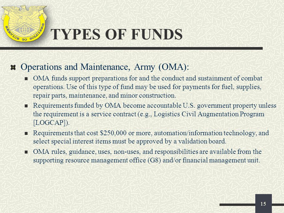 TYPES OF FUNDS Operations and Maintenance, Army (OMA):