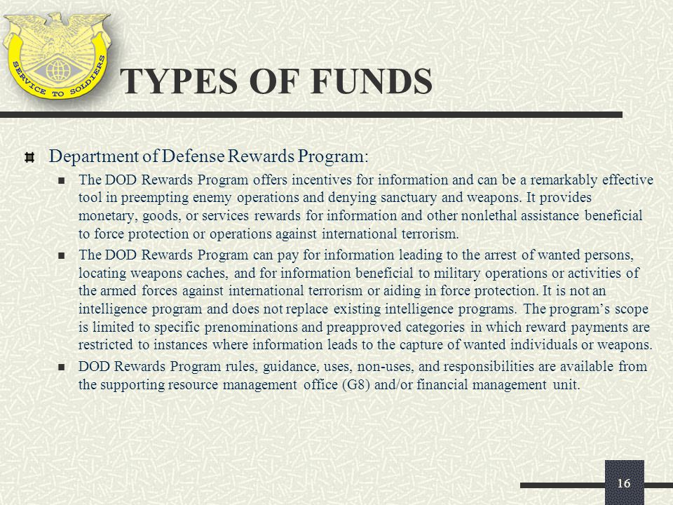 TYPES OF FUNDS Department of Defense Rewards Program: