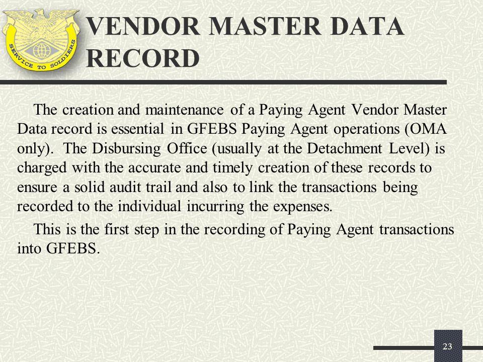 VENDOR MASTER DATA RECORD