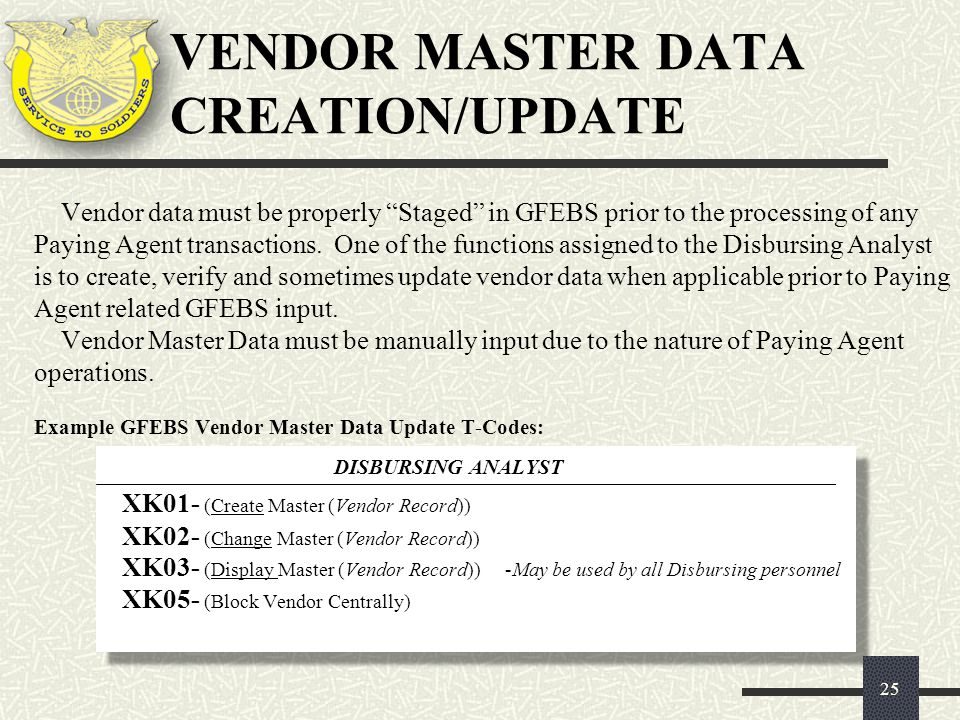 VENDOR MASTER DATA CREATION/UPDATE