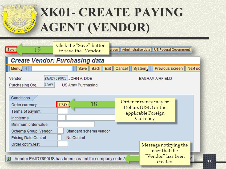 XK01- CREATE PAYING AGENT (VENDOR)