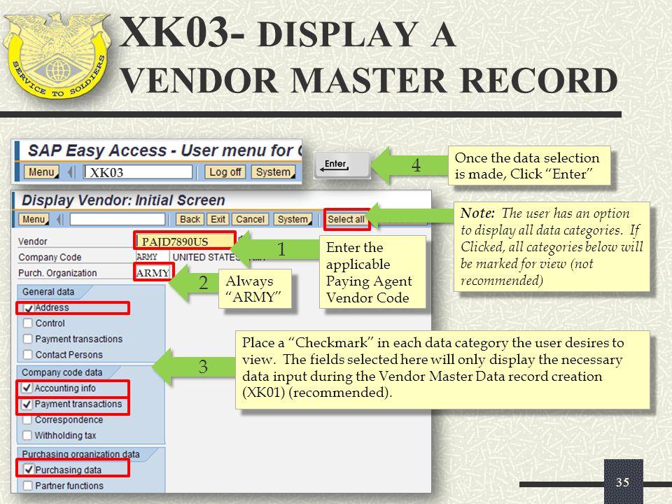 XK03- DISPLAY A VENDOR MASTER RECORD