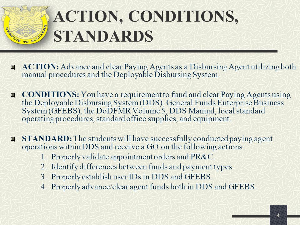 ACTION, CONDITIONS, STANDARDS