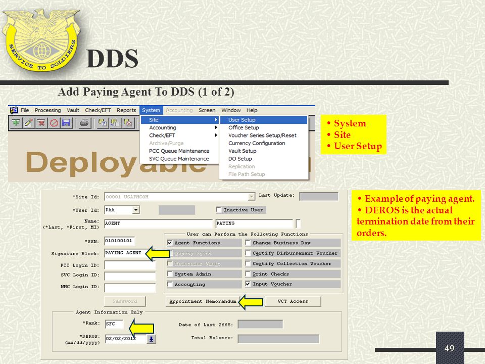 DDS Add Paying Agent To DDS (1 of 2) System Site User Setup