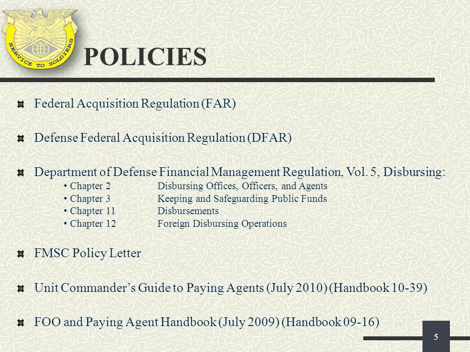 POLICIES Federal Acquisition Regulation (FAR)