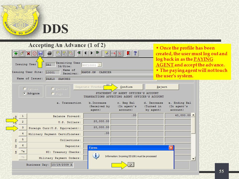 DDS Accepting An Advance (1 of 2)