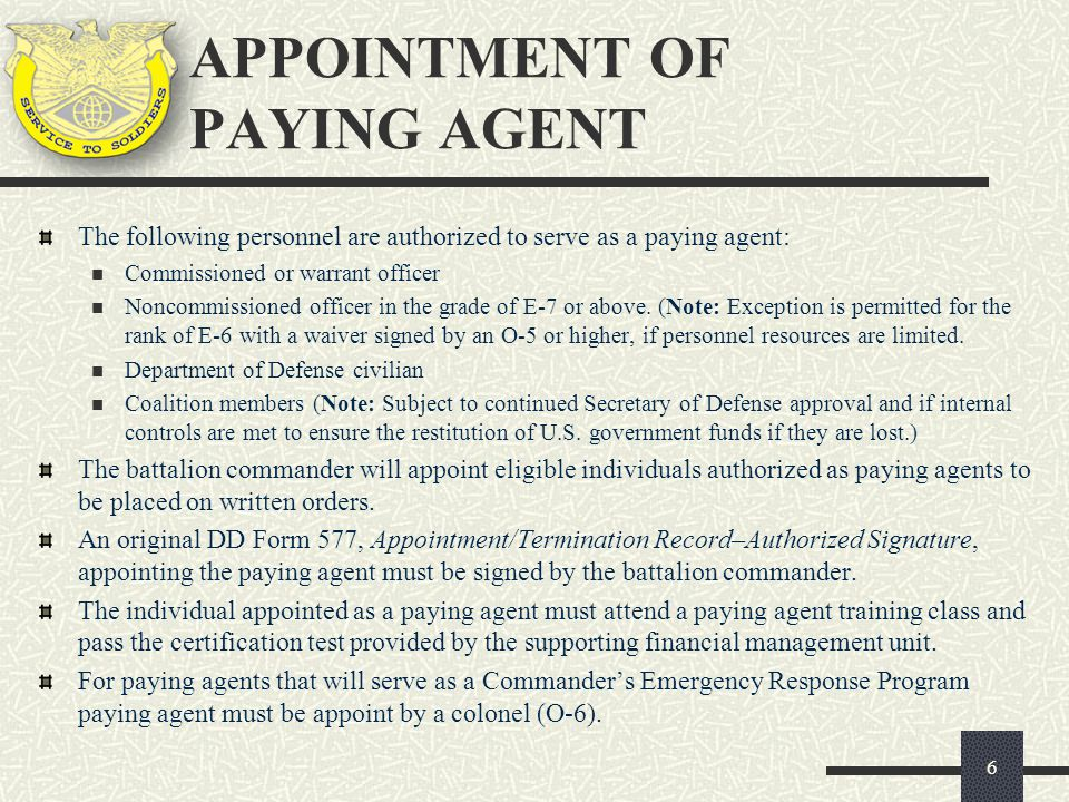 APPOINTMENT OF PAYING AGENT