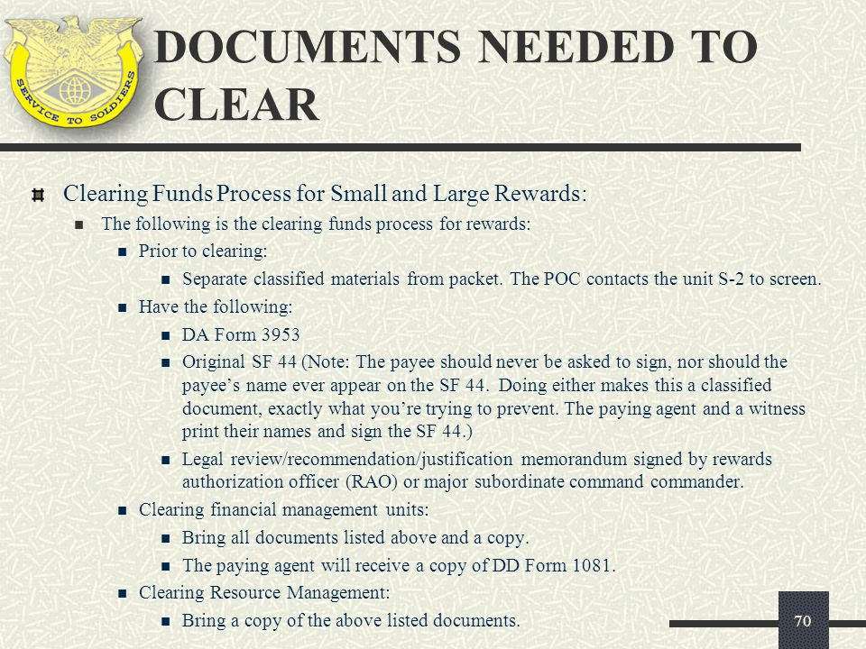 DOCUMENTS NEEDED TO CLEAR