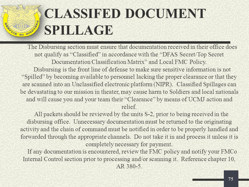 CLASSIFED DOCUMENT SPILLAGE