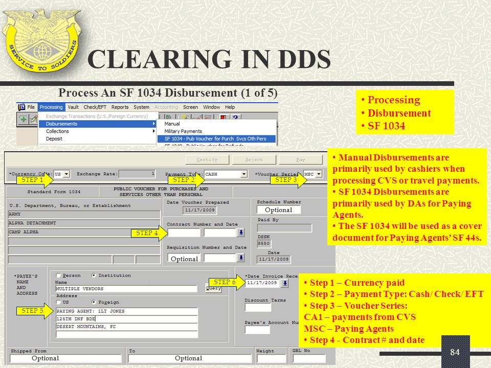 CLEARING IN DDS Process An SF 1034 Disbursement (1 of 5) Processing
