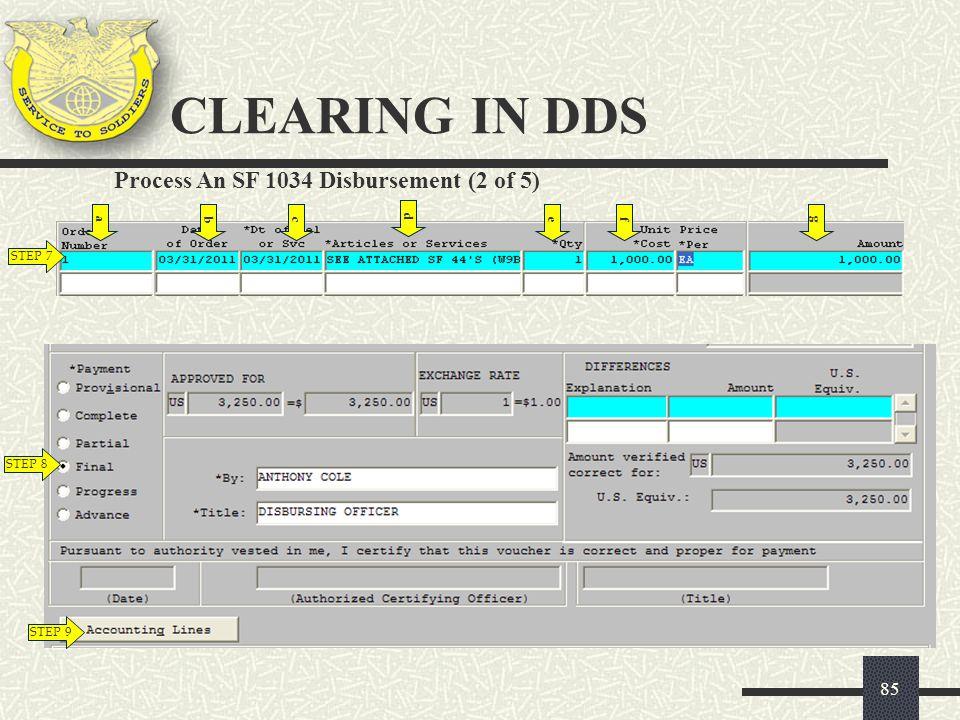 CLEARING IN DDS Process An SF 1034 Disbursement (2 of 5) a b c d e f g