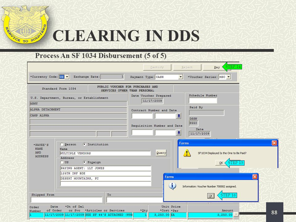 CLEARING IN DDS Process An SF 1034 Disbursement (5 of 5) STEP 14