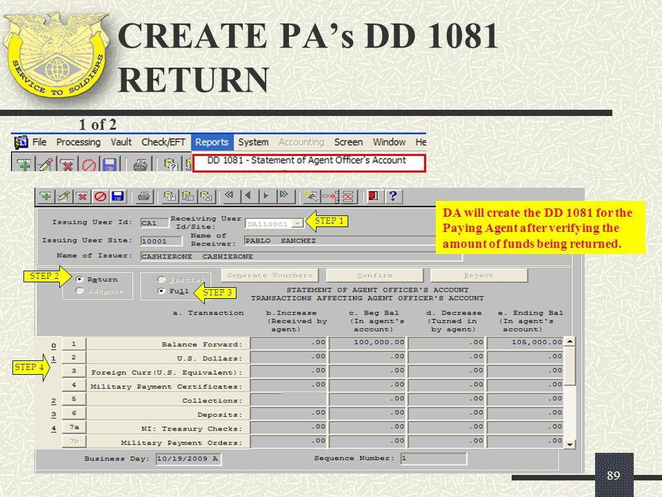 CREATE PA's DD 1081 RETURN 1 of 2