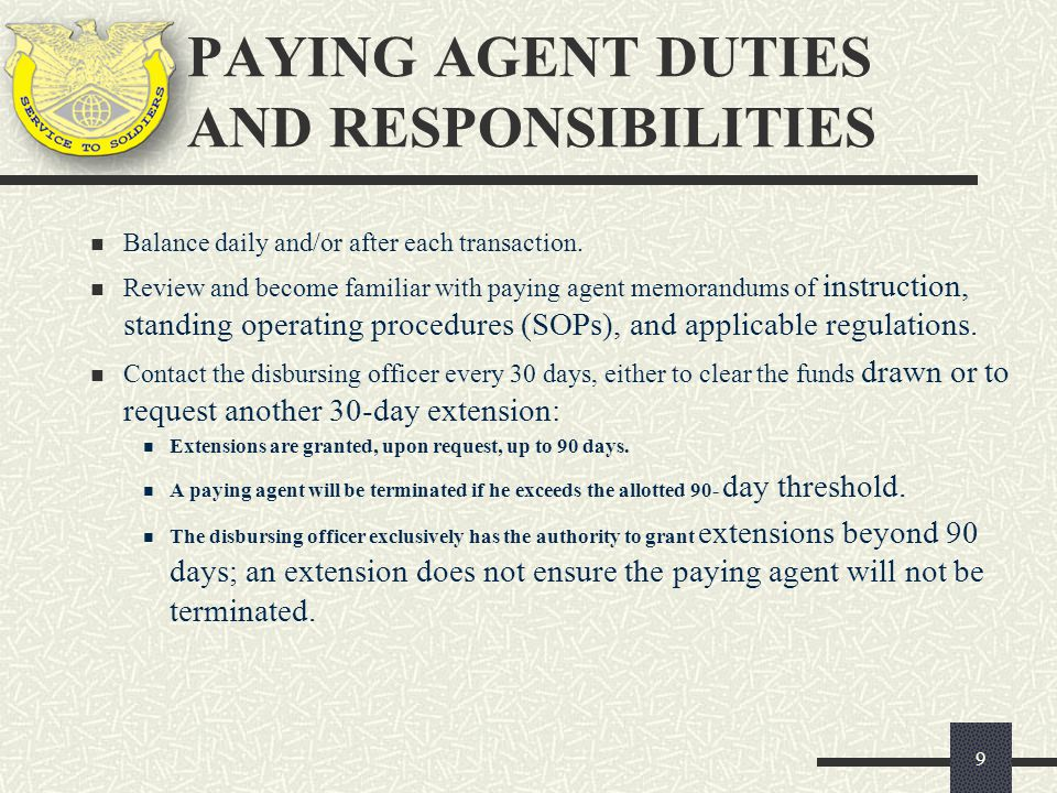PAYING AGENT DUTIES AND RESPONSIBILITIES