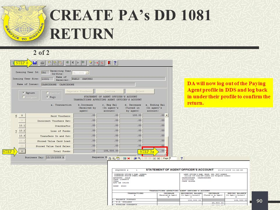 CREATE PA's DD 1081 RETURN 2 of 2