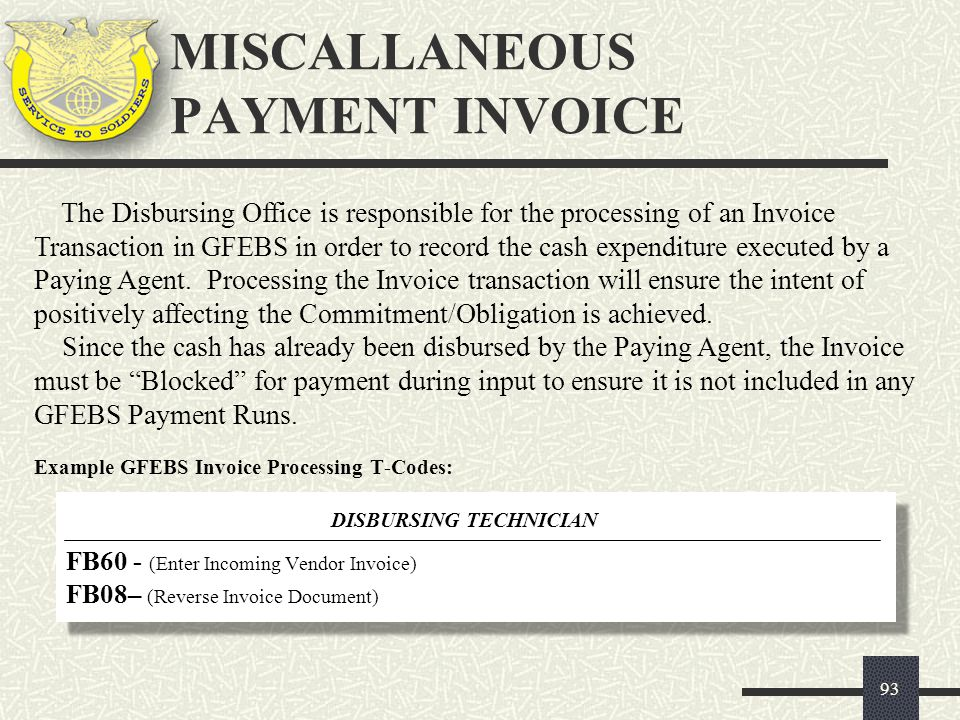 MISCALLANEOUS PAYMENT INVOICE