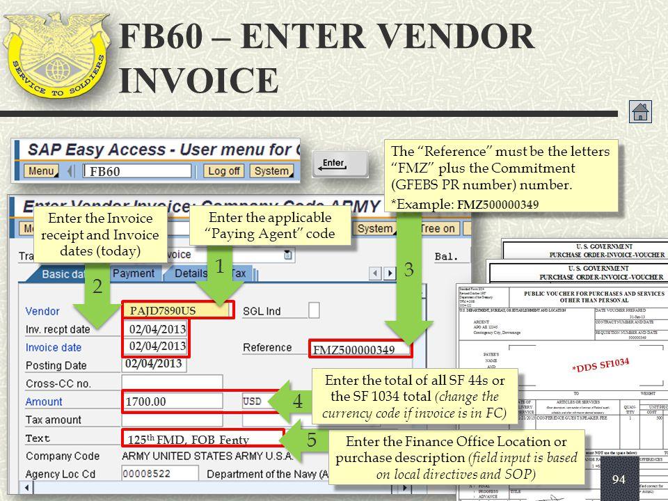 FB60 – ENTER VENDOR INVOICE
