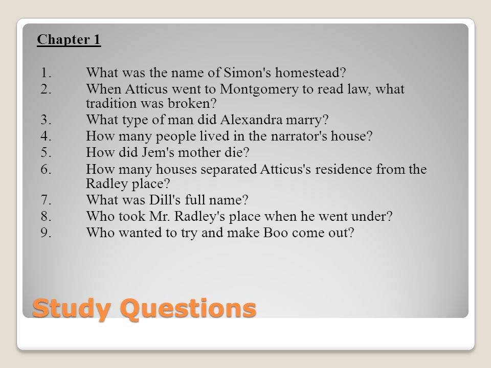 Study Questions Chapter 1 1. What was the name of Simon s homestead