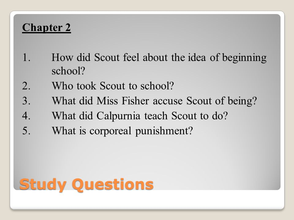 Study Questions Chapter 2