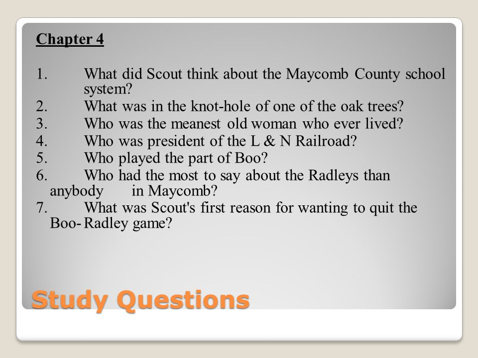 Study Questions Chapter 4