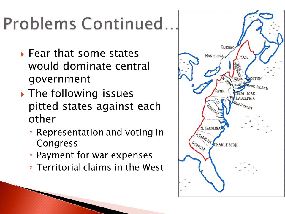 Problems Continued… Fear that some states would dominate central government. The following issues pitted states against each other.