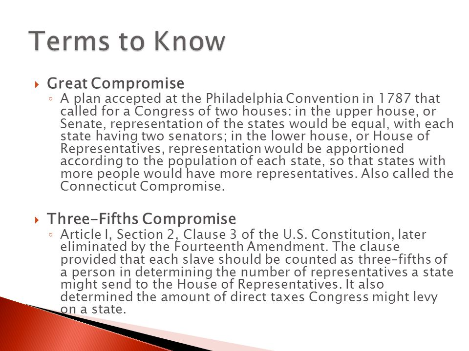 Terms to Know Great Compromise Three-Fifths Compromise